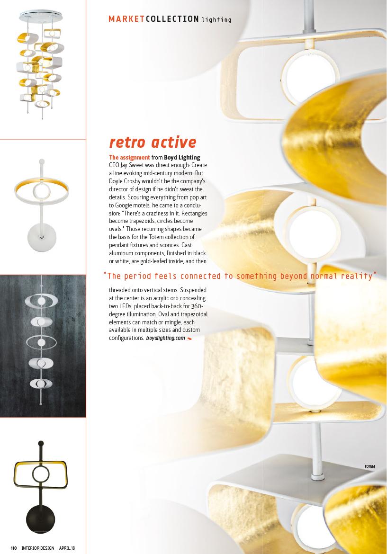 Interior Design magazine_April 2018_Boyd Lighting_Totem Series