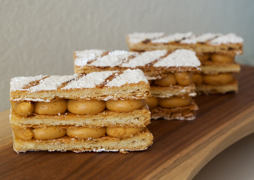 Napoleon with caramel mousseline (homemade puff pastry). Beautiful to look at, messy to eat.