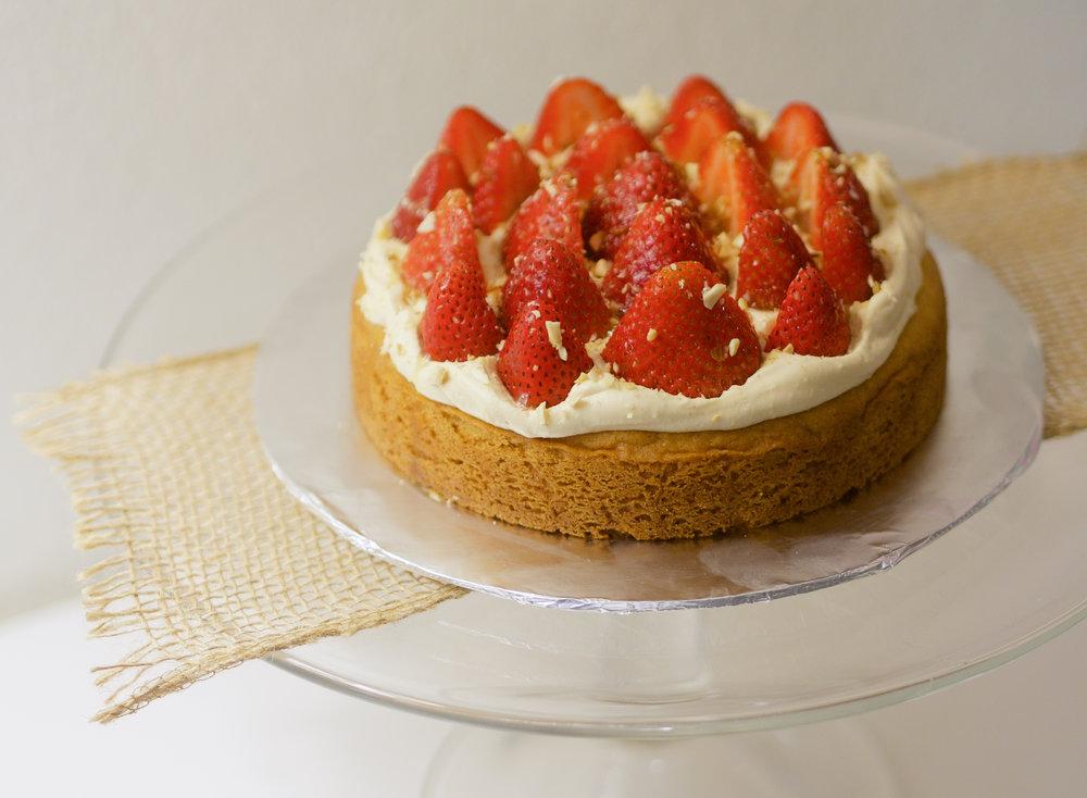 A strawberry and pistachio Breton tart.