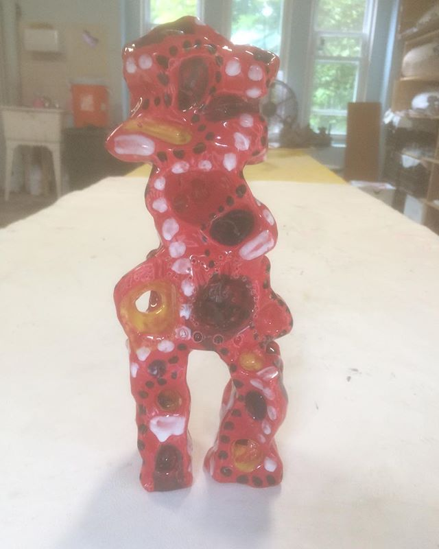 #ceramic #sculpture #figurative and #abstract #clay #art #play #red #white #dots barrykostrinskyceramic