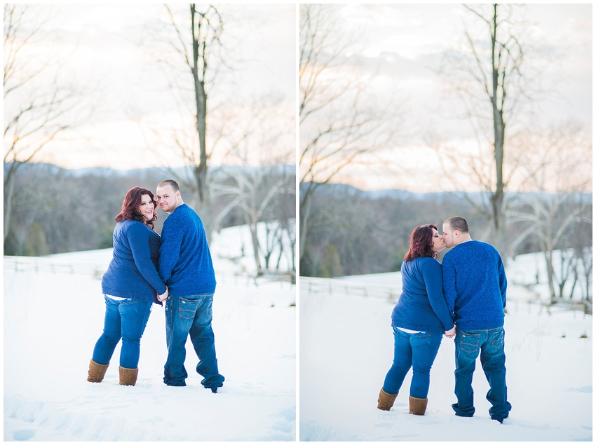 Winter Snowy Carroll County Maryland Farm Couple Engagement Portraits Katie Vee Photography Baltimore MD