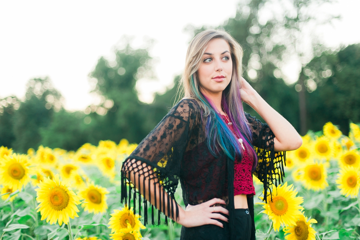 Witchy Model Portraits in Sunflower Field Maryland by Katie Vee Photography