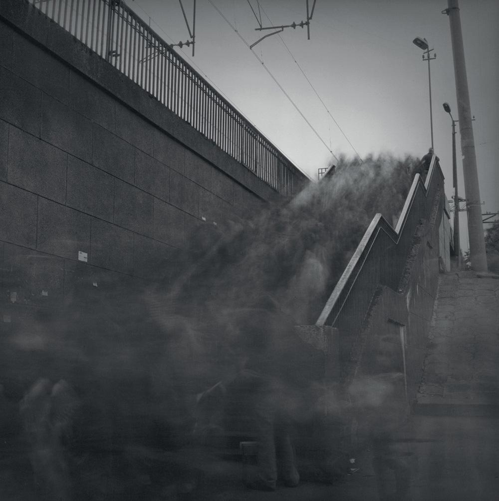 Stairs of Lenin Prospect railway platform, 1994