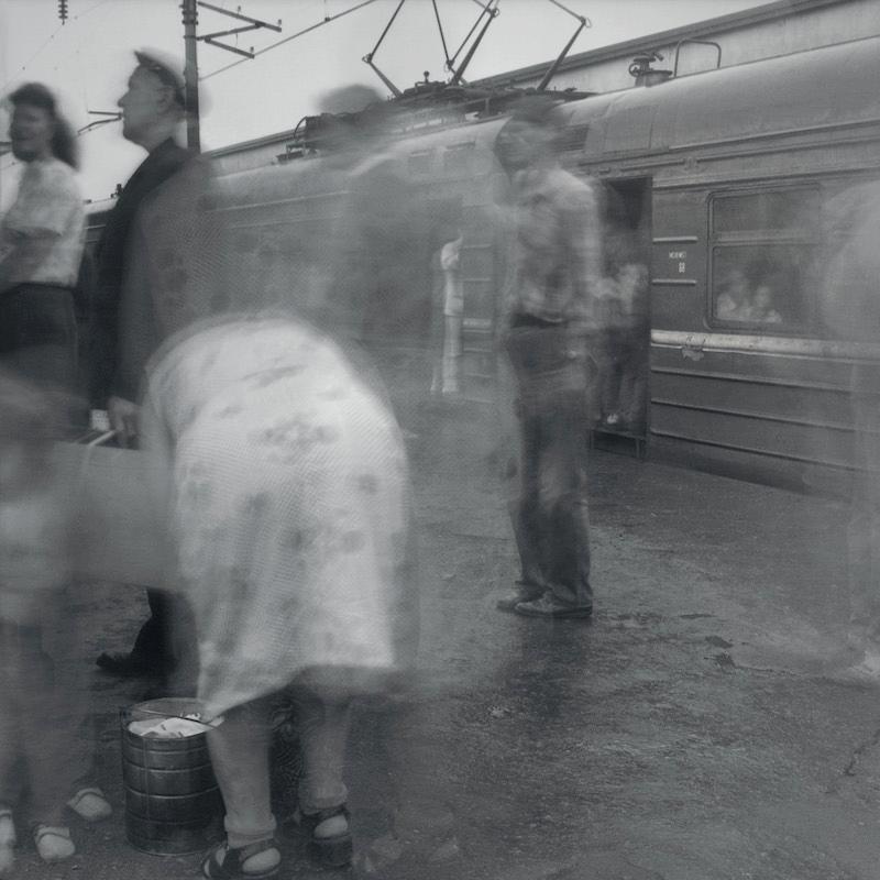 Boarding a local train, Kuptchino Railway Station, 1993