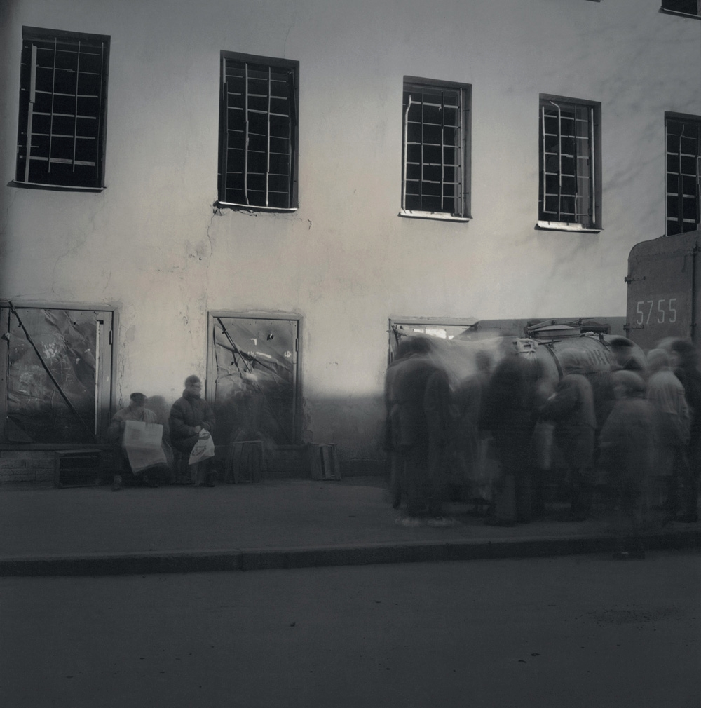 Line to buy milk outside prison, 1999