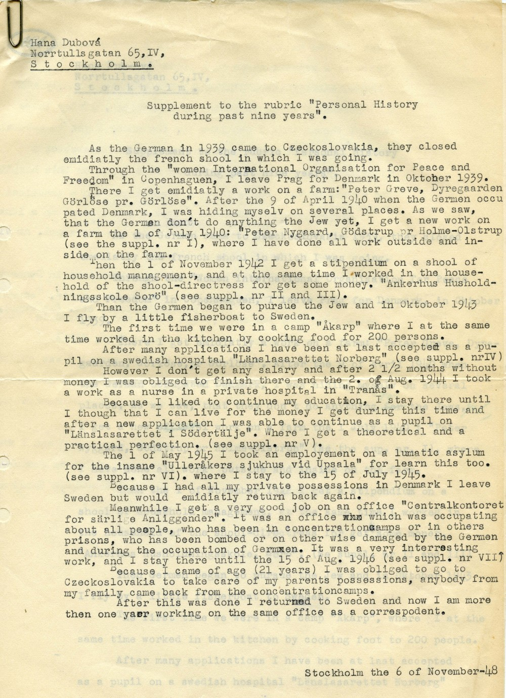 "Hana's ""Personal History During Past Nine Years"" written for an English class in 1948."