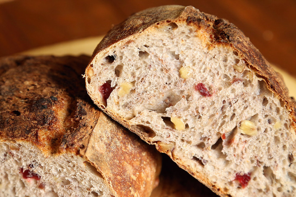 Cranberry Walnut Rustique Sourdough based country bread, 20 percent whole wheat flour with dried cranberries and toasted almonds added in - great for toast!