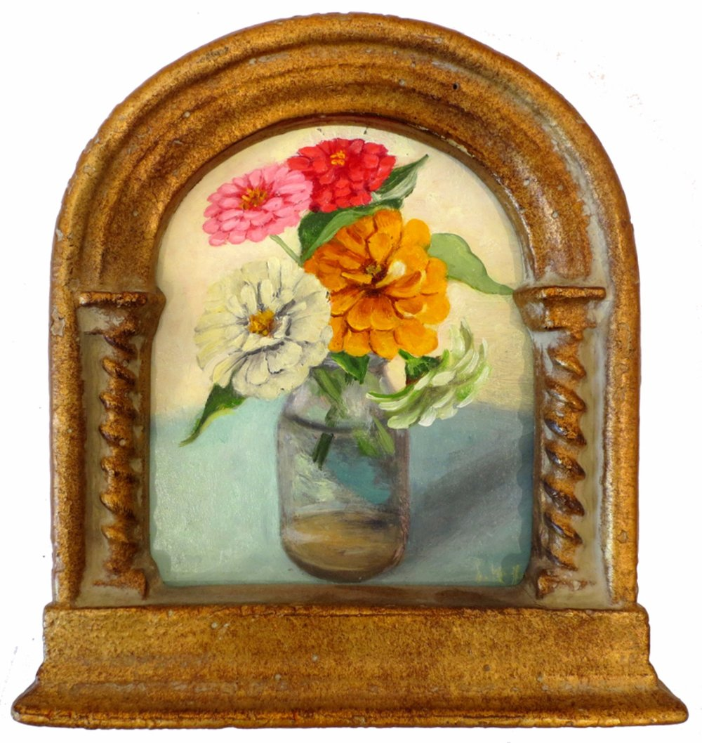 Zinnias in Cream Jug