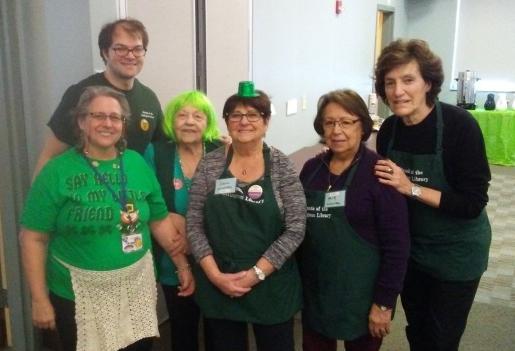 Friends hijinx as Friends Volunteers celebrate St. Patrick's Day.