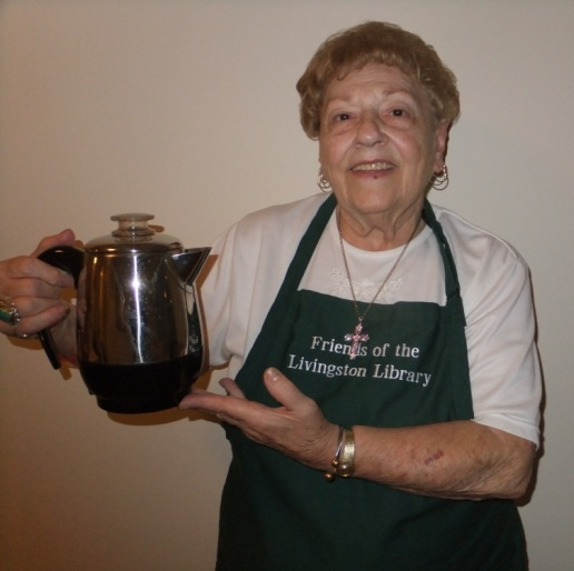 Friends Volunteers serve coffee and dessert each month at Senior Happenings.  Pictured here is Marie.