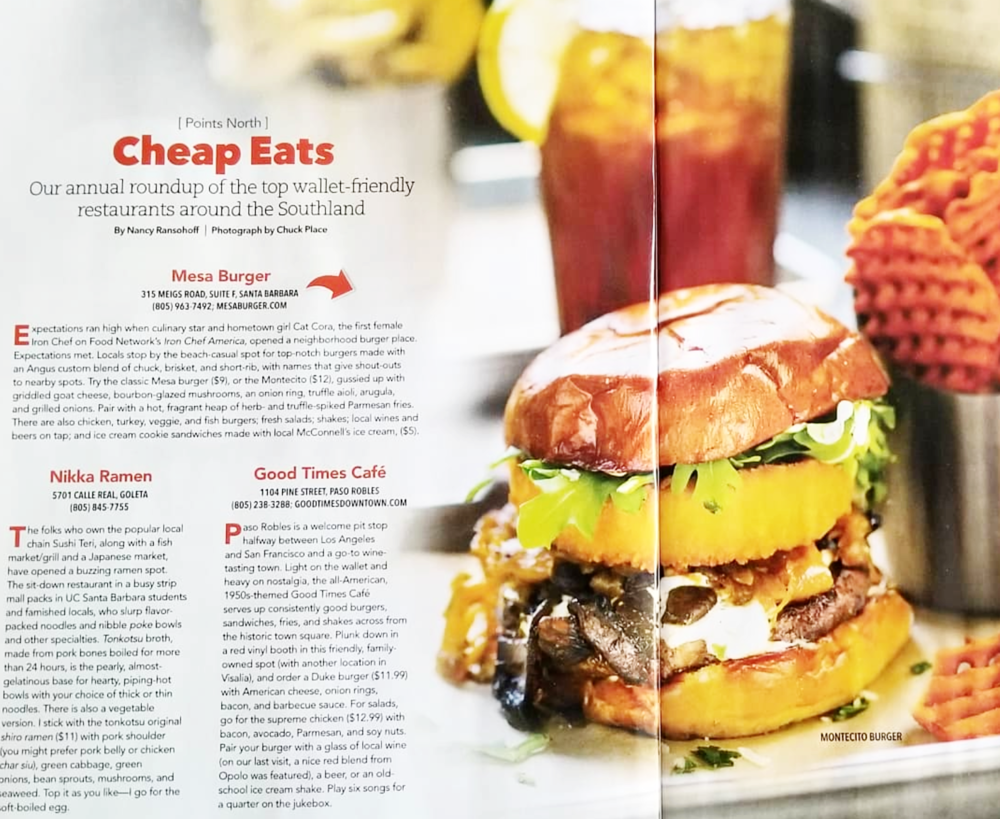 AAA's Westways Magazine: Check Mesa Burger out on page 76, in the March/April issue. -