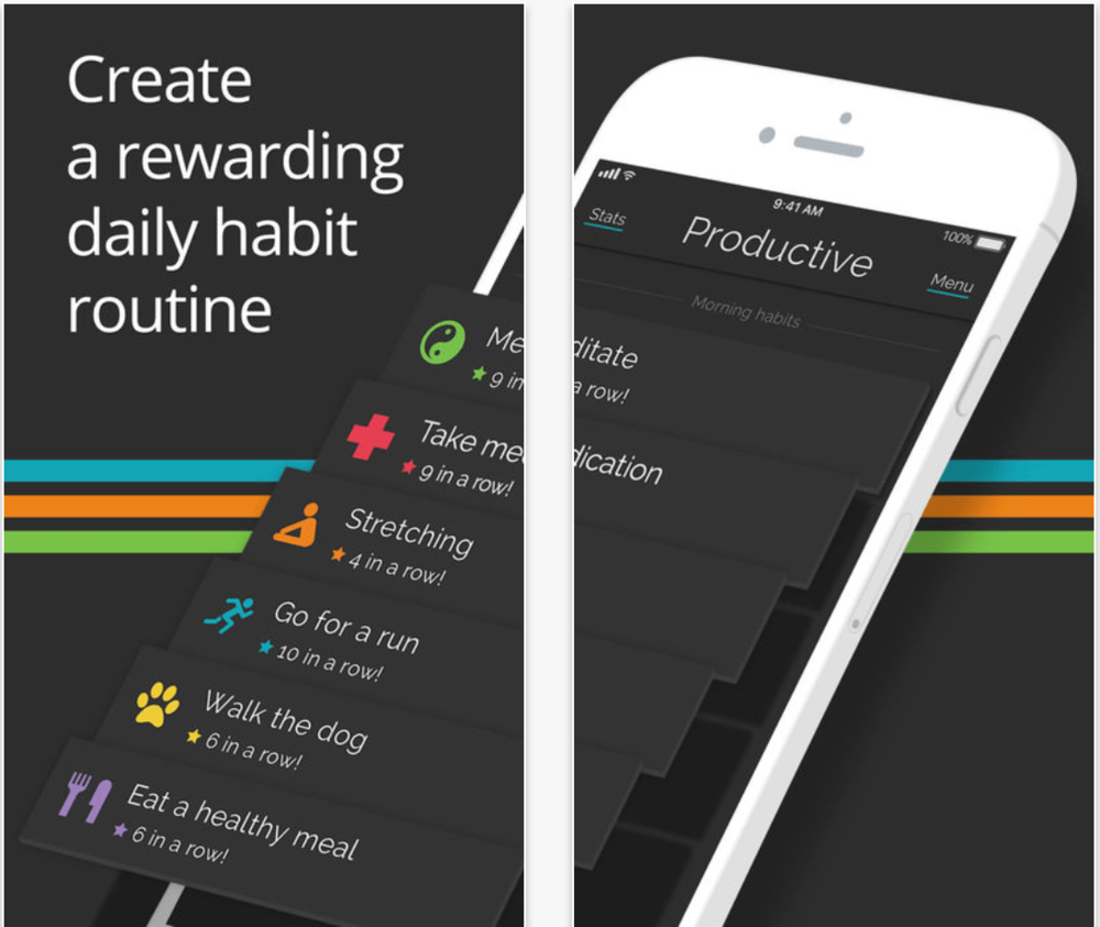Productive app - This is an AWESOME app and we have been using it with clients with great success.You can choose from the pre set goals, set up your own and just swipe to complete each one.For the data geeks in us there are graphs and all sorts :)DOWNLOAD HERE