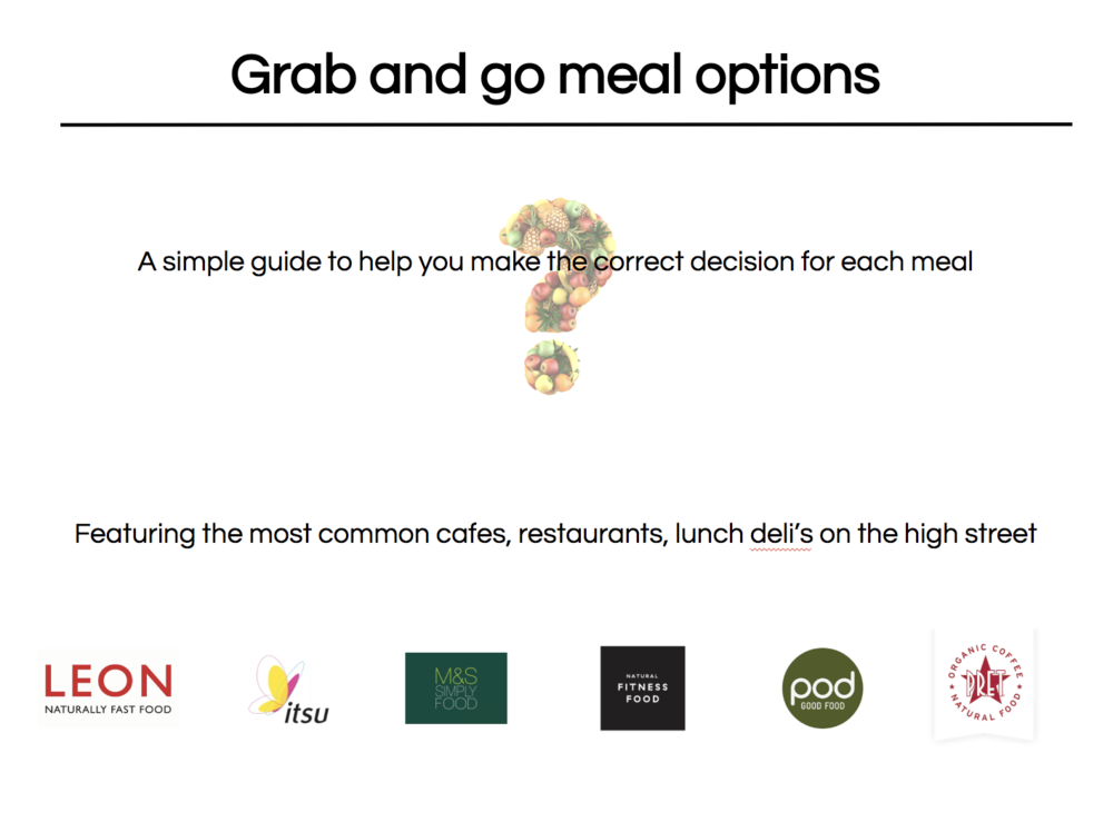Our restaurant PDF - We have a guide to some of the better choices in the cafes and delis. These may not be up to date as they change the menus so much! Nutrifix app is the best bet :)