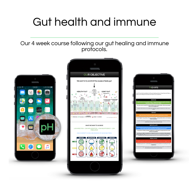 Gut and immune function - Our 4 week gut healing and immune course that will remove bloating, increase energy and supercharge your health.———————————————Our 4 step protocolEducation on why the gut is crucial for health and athletic performanceStep by step guide through the protocolSpecific foods and supplement listsRecipes and detailed meal structure