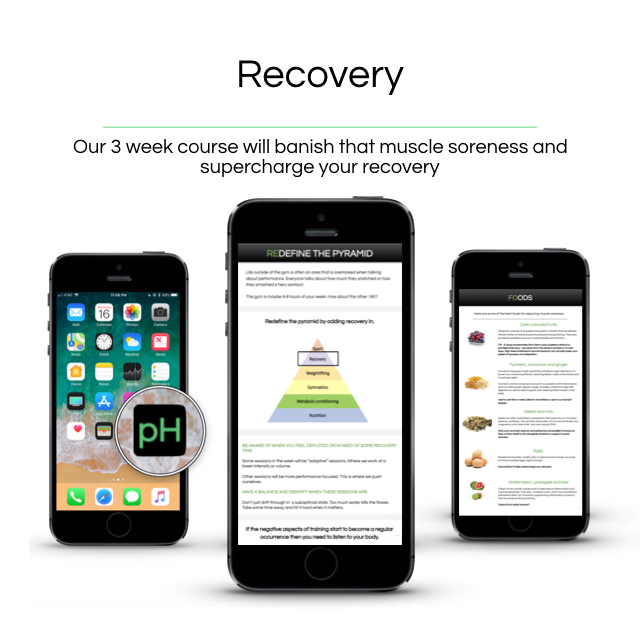 Recovery - Our 3 week course will educate you on how to use nutrition to supercharge your recovery.———————————————The 4 R's of recoveryManaging muscle sorenessUnder recovering and overtraining - strategies to manageOur neurotransmitter testSpecific foods and supplement listsHow to integrate into your nutrition plan