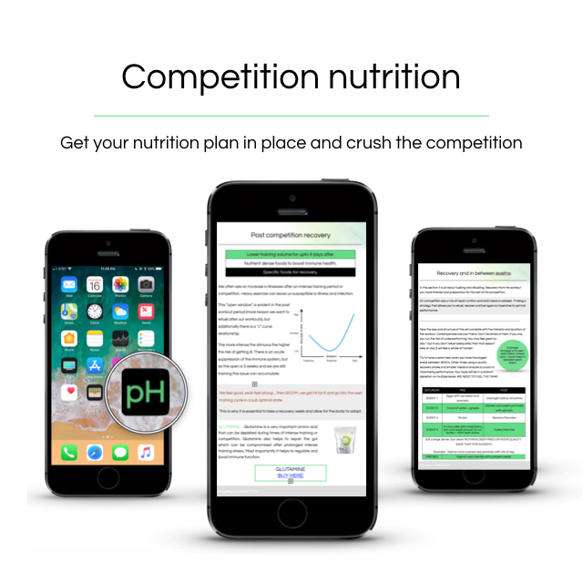 Competition nutrition - Our 3 week competition preparation course.————————————————Detailed nutrition guidelines for the weeks leading into the competitionPre and post event nutritionWhat to eat in between eventsRecipes, meal prep, supplementationSIGN UP 10 DAYS BEFORE A COMPETITION