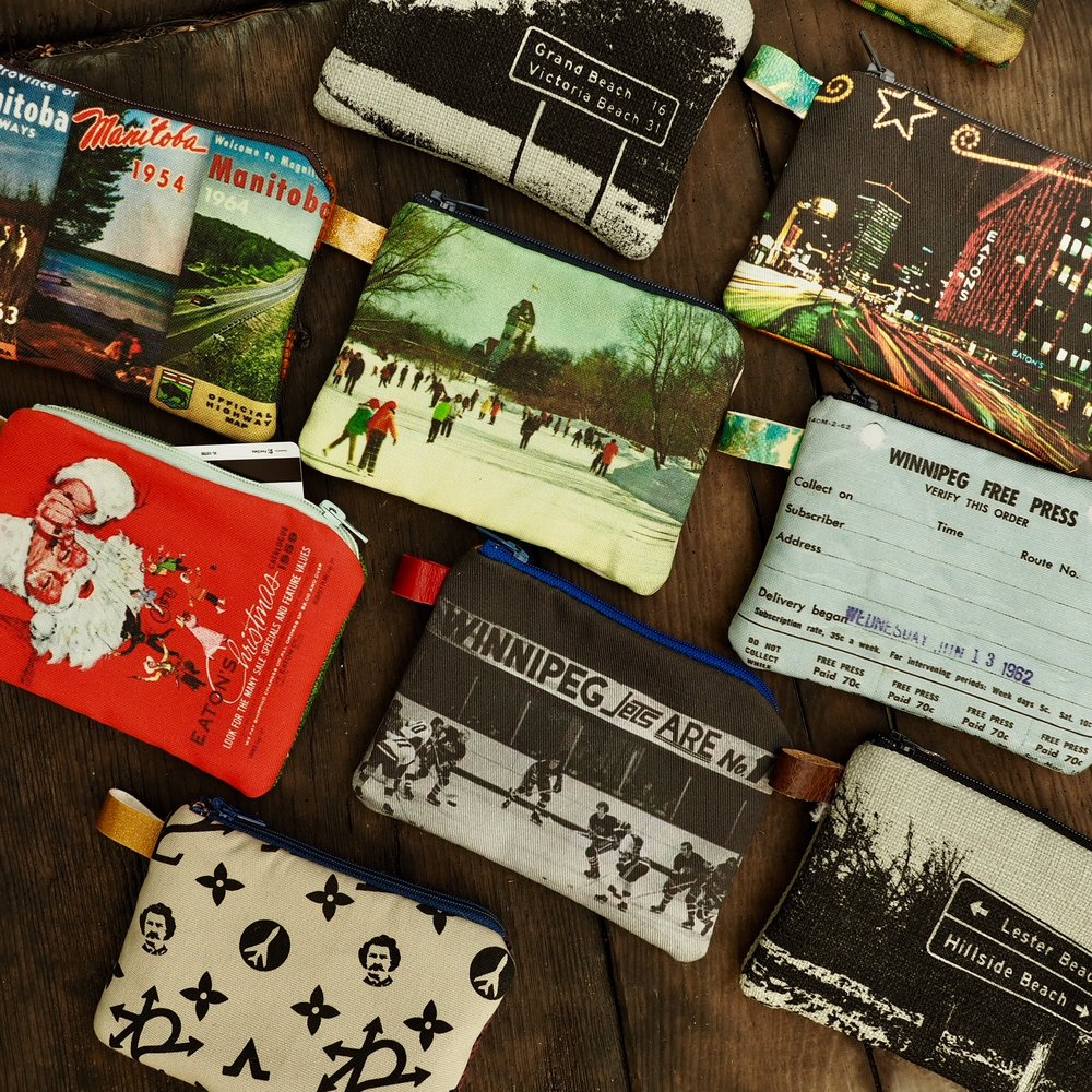 Vintage Winnipeg inspired coin purses.