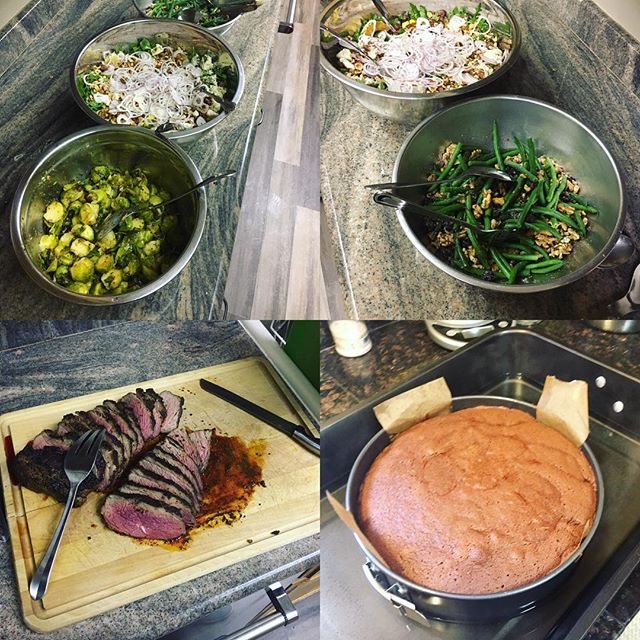 Roast tri tip / green bean walnut salad / spiced delicata with hazelnuts shallots and Smokey blue cheese / maple Dijon Brussels / mashed potatoes / red wine reduction / chocolate almond torte #mobilechef #eatyourcolors #glutenfree #redwinesteakchocolateohmy