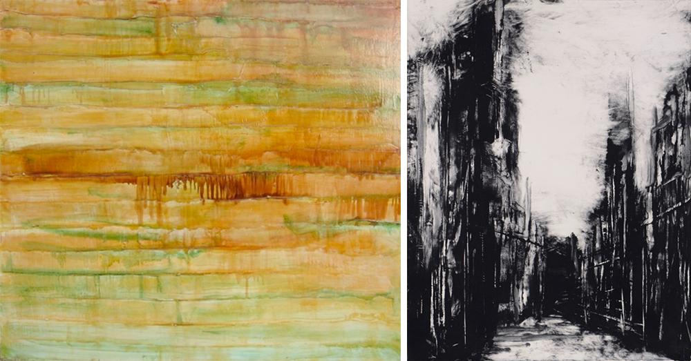 Left: Walter James Mansfield |  Striated Landscape (ochre)  Right:  Barry Ebner |  03071016 Untitled