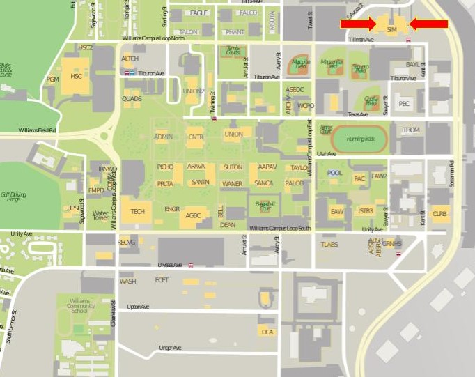 We are located at the SIM building at the North Eastern end of campus