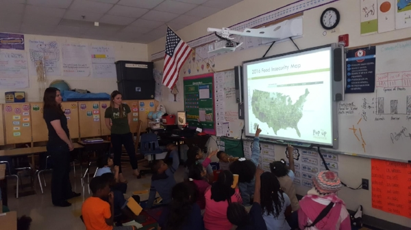 Meg Fencil, of Sustain Charlotte, and Amanda Zullo, of Pop Up Produce, co-led a presentation for the second grade class. All photos courtesy of Walker Visual.