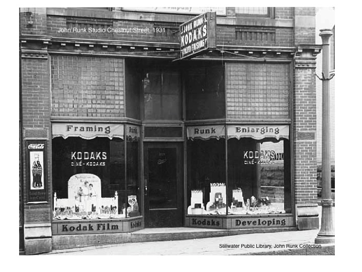 "John Runk Studio on Chestnut Street, 1931. This building still stands today and has been slightly modified. Click or Tap on this photo to reveal a ""Time Tunnel"" photo from 1931 to 2016."