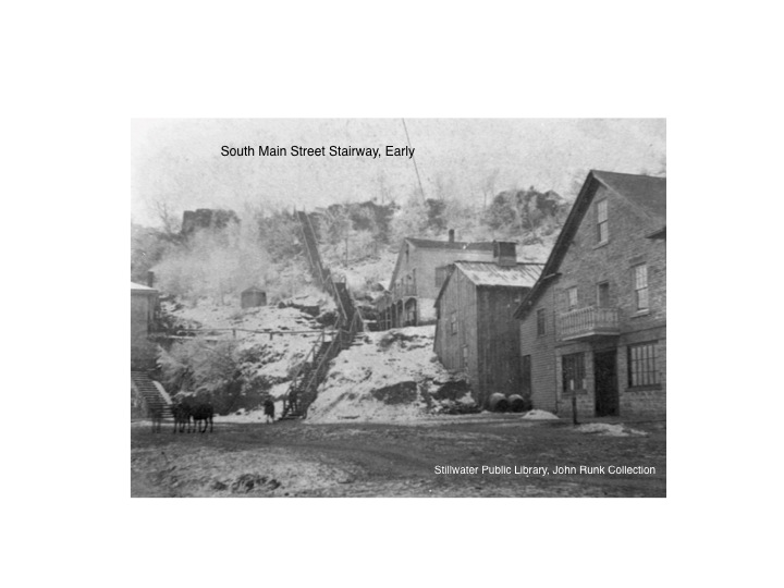 This is a very early view of the south stairway(prior to 1873).  The iconic stone buildings of the Joseph Wolf Brewing Company are not yet built at the time this photo was taken.