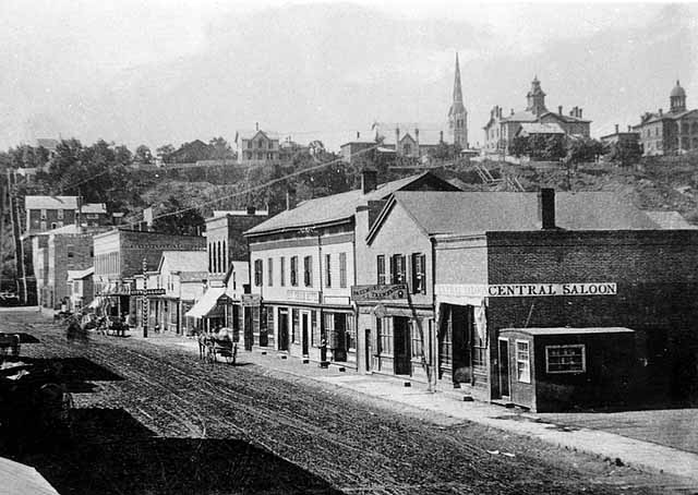 "Main Street Stillwater, Near Chestnut Street View is toward the southwest.  Date of photo is 1878. Photo credit Stillwater Public Library, John Runk Collection. To view the ""Time-Tunnel"" of this location, just click or tap on the above photo."