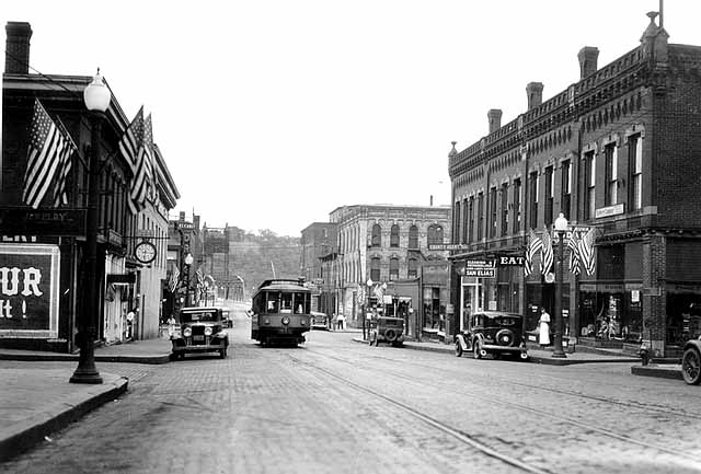 "Chestnut Street View Toward the East in 1920, Photo Credit Stillwater Public Library, John Runk Collection.  To view a ""Time Tunnel"" photo of this same scene, click or tap the historical photo."