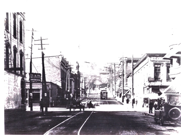 Chestnut Street and Main, View West, 1920, Photo Credit Stillwater Public Library, John Runk Collection.  Click or Tap photo for same view in 2016.