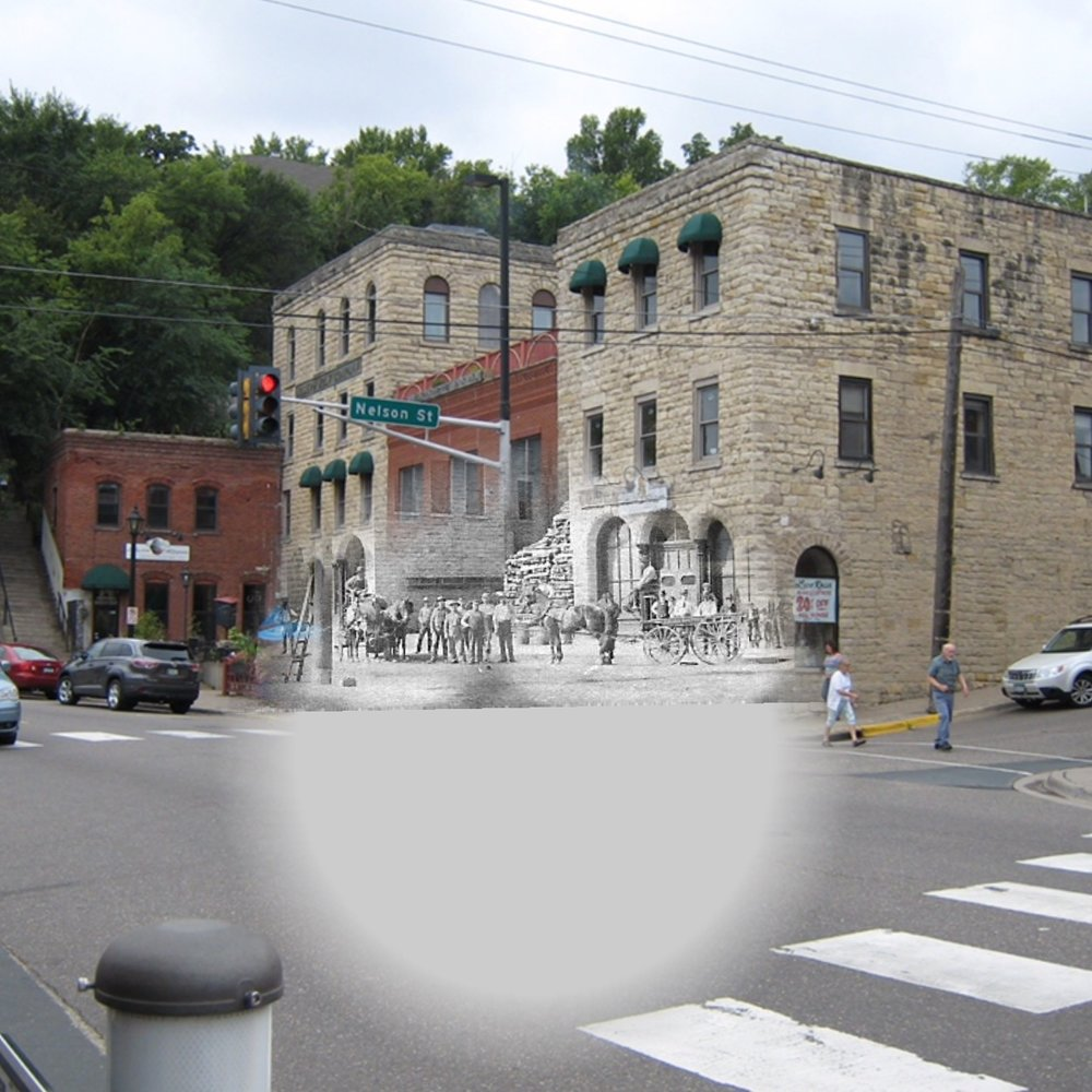 """Joseph Wolf Brewing Company Building Complex on Nelson and S. Main Street. This is a """"Time Tunnel"""" photo from 1866 to 2016. Photo Credit; New York City Public Library, John Sinclair Historical Stereo Photo, Tom Wieland and Bob Molenda."""