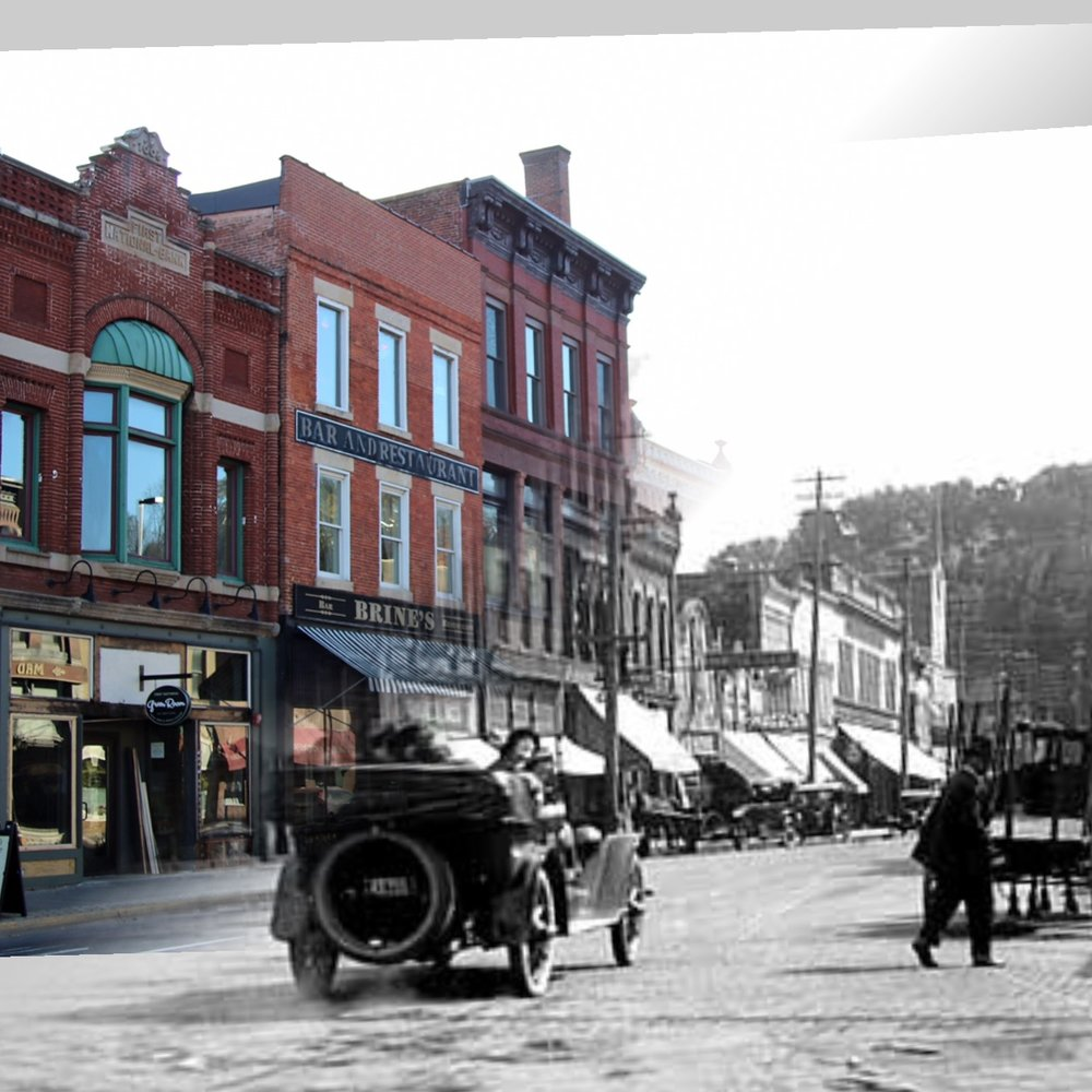 Time Tunnel Photo from 1920's to 2016. Photo Credit; Stillwater Public Library, John Runk Collection, Tom Wieland and Bob Molenda. Scene is South on Main Street and Chestnut Street.