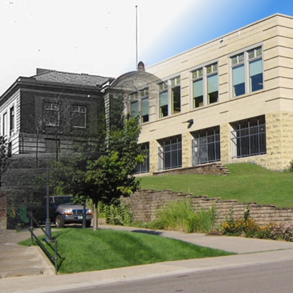"""""""Time Tunnel"""" photo of the Carnegie Library from 1920 to 2016. View is from 3rd Street. Photo Credit; Stillwater Public Library, John Runk Collection, Bob Molenda. The original building is behind the new addition."""