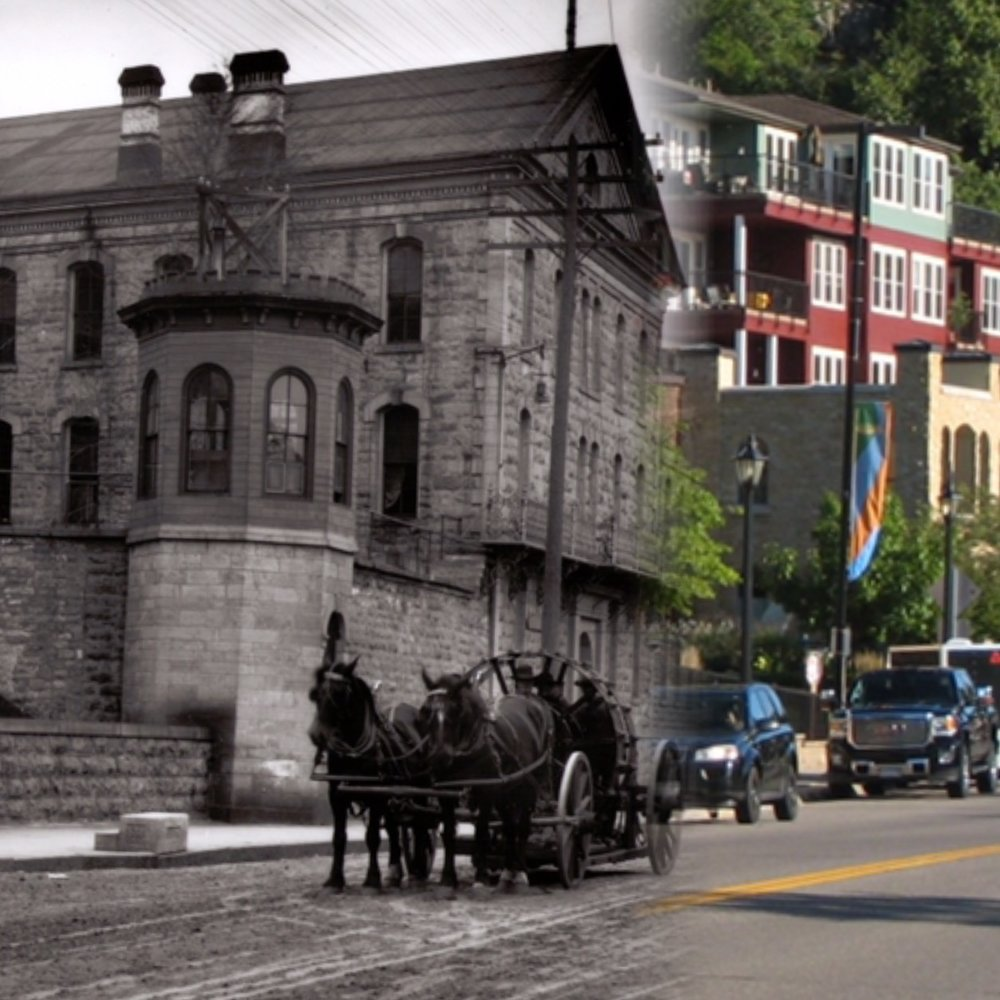"""This is a """"Time Tunnel"""" photo of the Territorial Prison location from 1907 to 2016. Photo Credit, Stillwater Public Library, John Runk Collection and R. Molenda."""