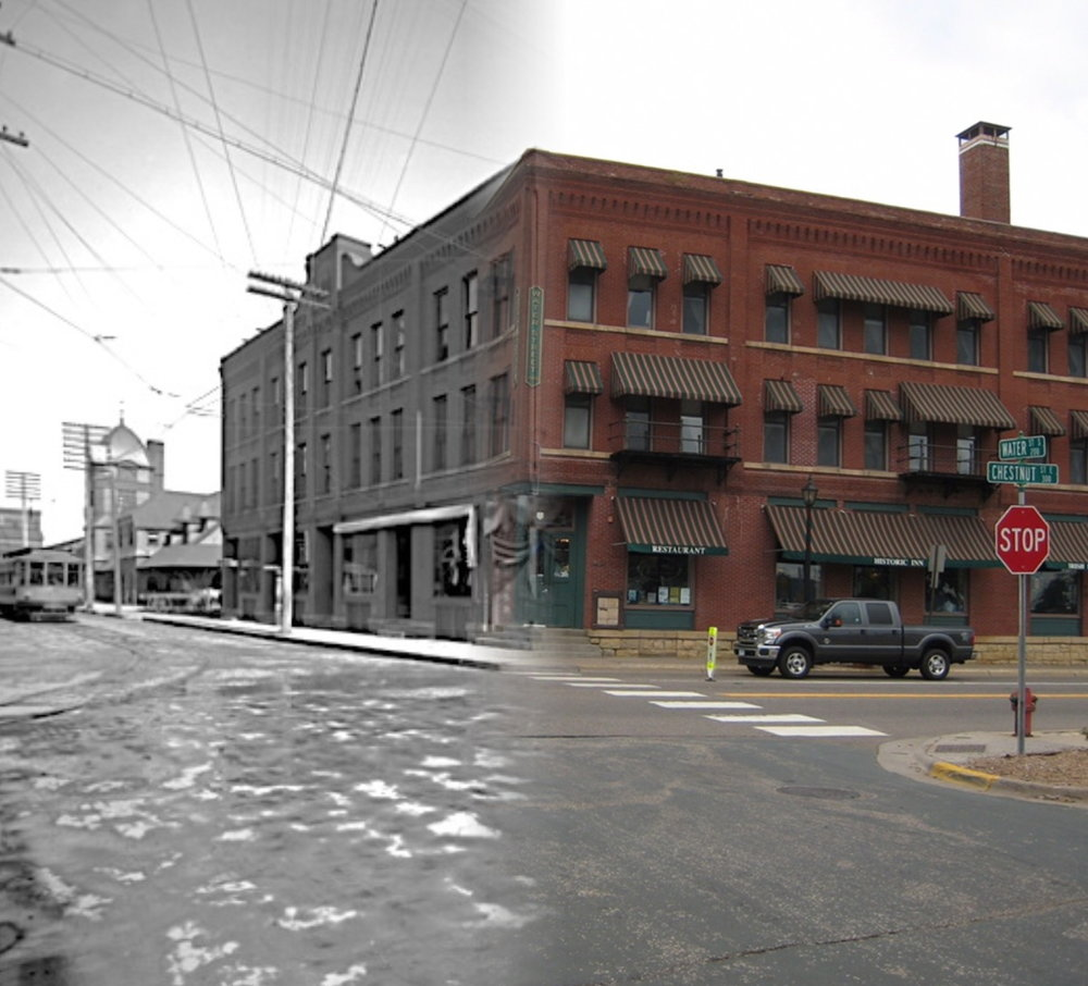 """This is a """"Time Tunnel"""" of the Lumbermen's Exchange Building from 1914-2016. The location is presently the Water Street Inn. There have been additions to the original building and you are able to view the trolley and Union Depot building in the background."""