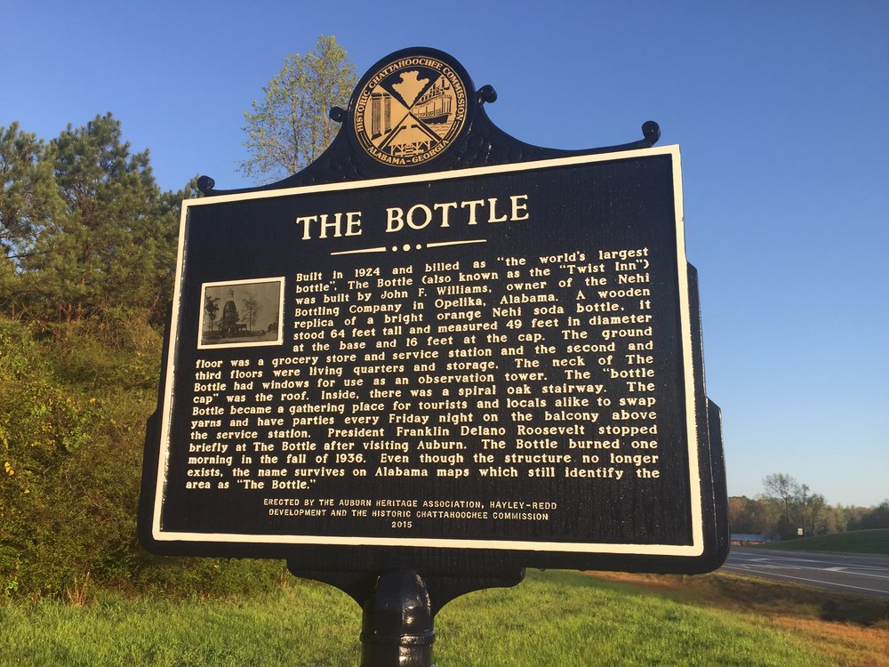 The historical marker at The Bottle  via