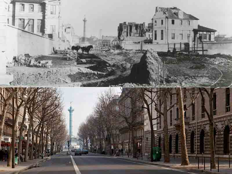 Boulevard Henri IV during Haussmannization and today  via