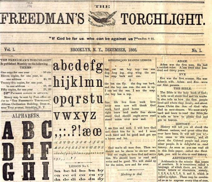 The remaining copy of Weeksville's Freedman's Torchlight from 1866,   via