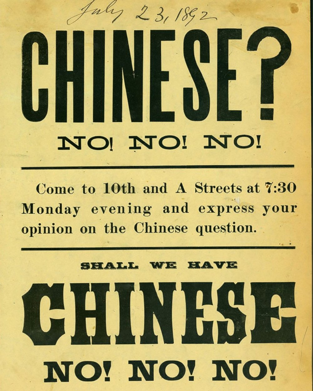 Poster for an anti-Chinese rally in Takoma, WA, c. 1892  via