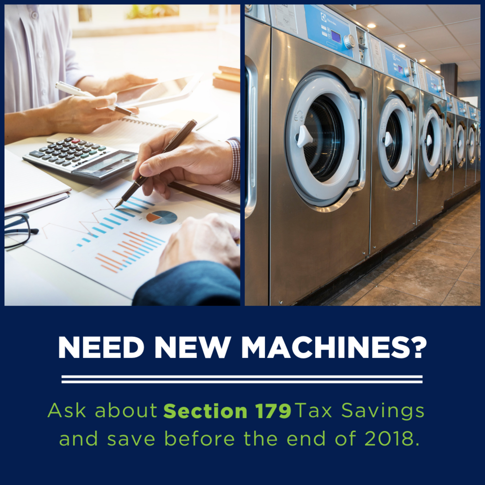 Under Section 179 businesses may deduct the full purchase price of equipment in the year it is purchased — up to $1,000,000.  This is different than the traditional method of writing off equipment in stages through the depreciation cycle.  The equipment needs to be put into use by December 31st, 2018.  Consult your CPA or tax professional.