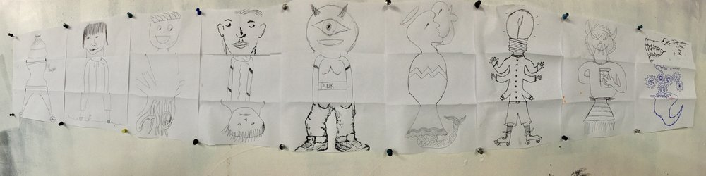 Exquisite corpse drawings by kids of Creating Communities with Jeff Huntington and Jimi Davies