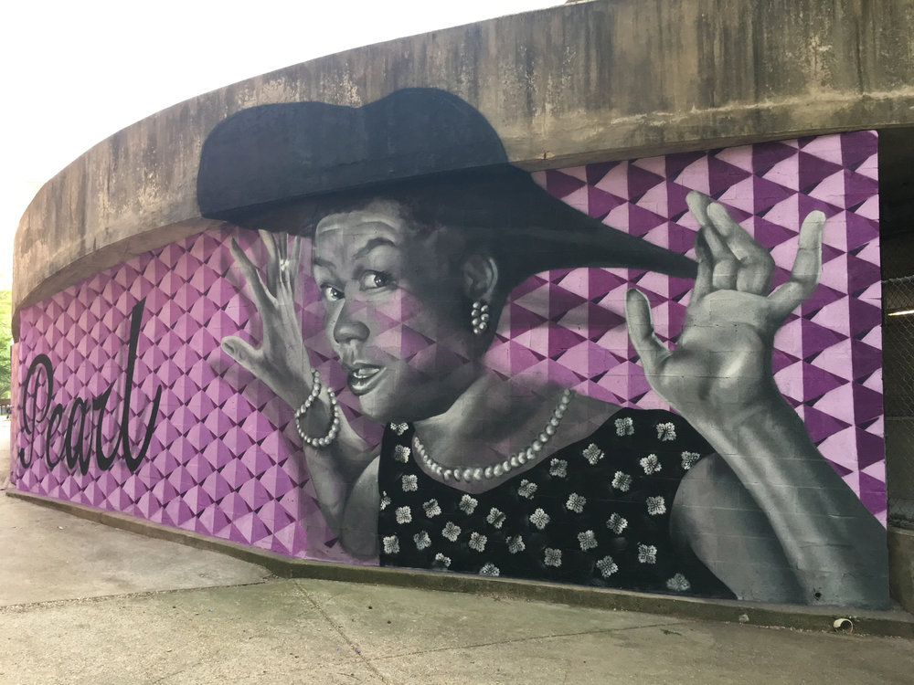 """On May 4th and 5th of 2018, FHN and Stanton Center collaborated to create a mural of Pearl Bailey, a portrait to commemorate the cultural legacy of Annapolis' """"Old Fourth Ward.""""   (CLICK HERE TO READ """"  The Fourth Ward: Bound by Brotherhood,"""" by Janice Hayes Williams)"""