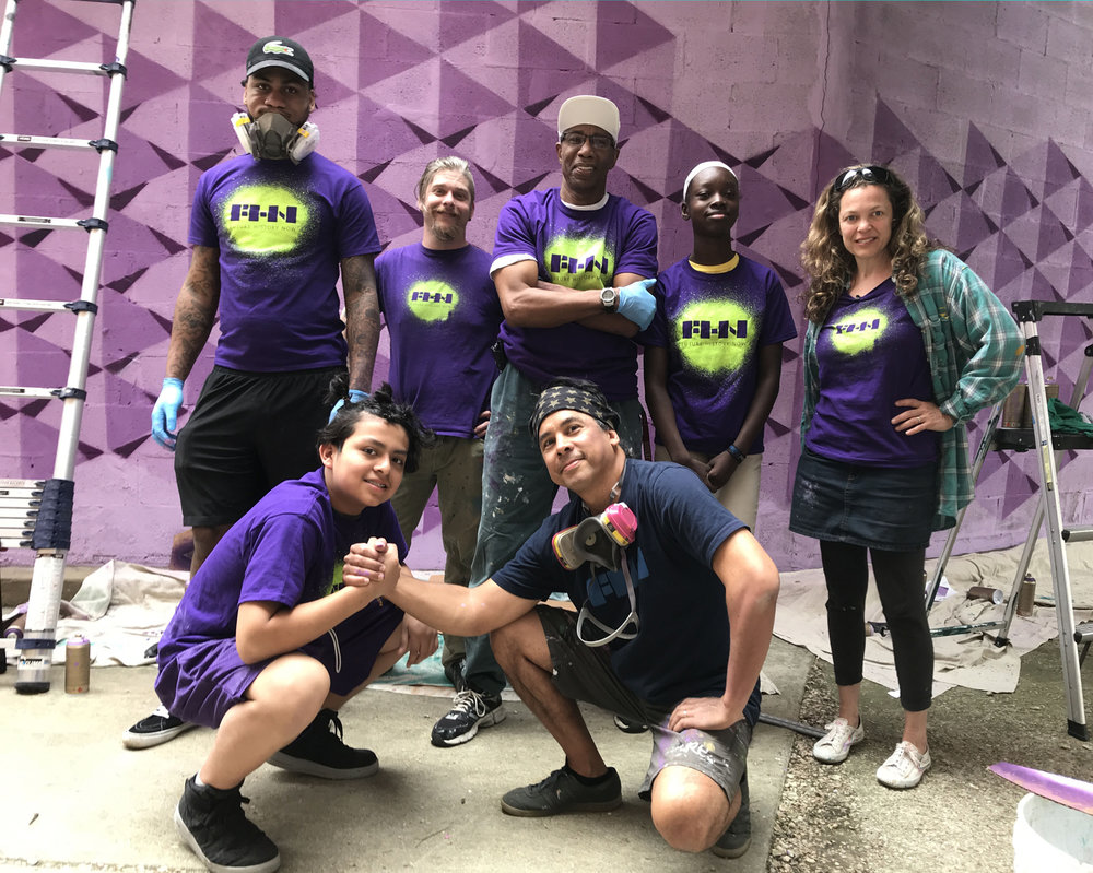 """This small crew, which included Troy Reid, Anthony LaVorgna, and George """"Lassie"""" Belt as artist/mentors worked through the weekend and on-and-off rain to get the job done!"""