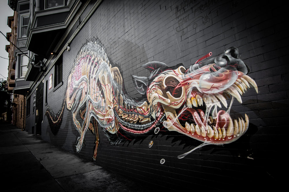 If you're on Haight St, I recommend checking out this art piece by Nychos. The detail in his work is unreal! I feel like I snap a pic every time I see it. lol