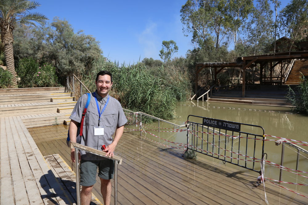 One of two pictures of me taken so far. At the Jordan River at the place where Jesus was baptized by John the Baptist.
