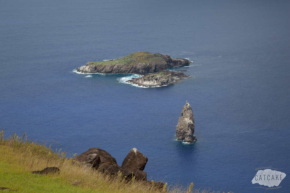 These tiny specks of rock (Motu  Nui, Motu Iti, and Motu Kao Kao) don't count as landmasses but are just off the southern cape of Orongo on Easter Island.