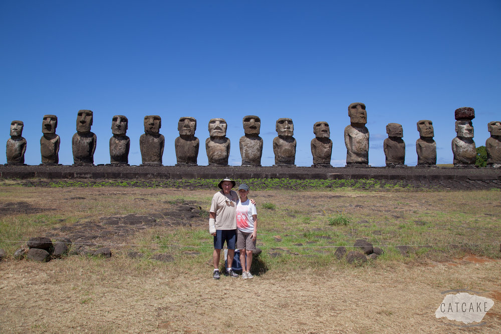 My dad and I in front of the 15 statues at Tongariki, the platform with the most standing moai in one place.