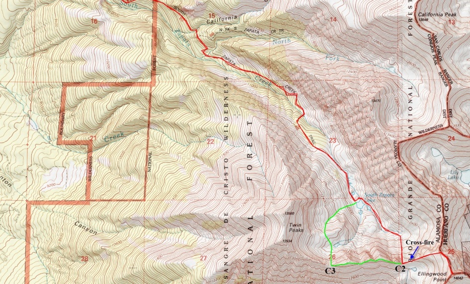 Our route in light red.  Peak on lower right
