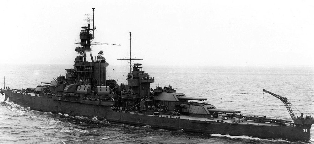 The USS Pennsylvania underway in 1943