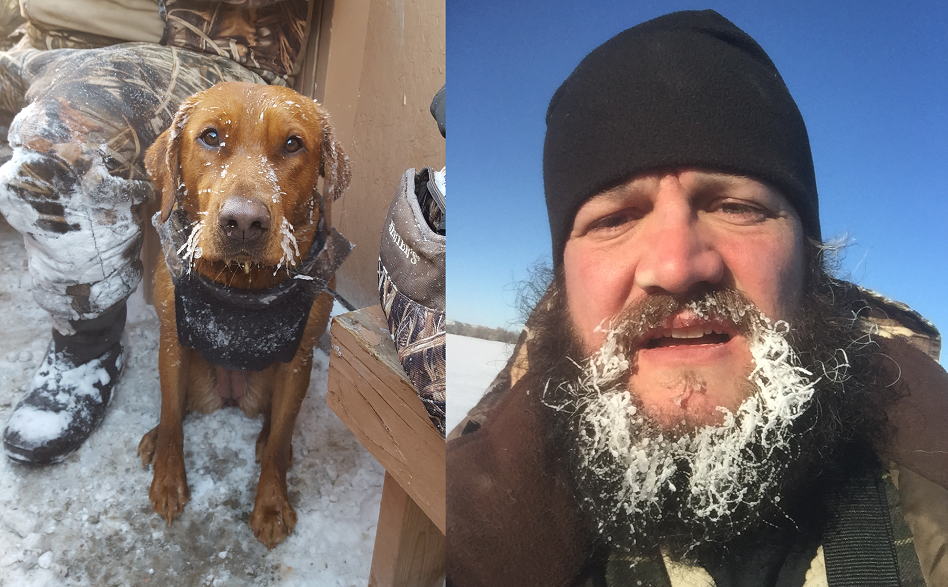 Rouge and Boomer showing off their frosty whiskers in -24 degrees.